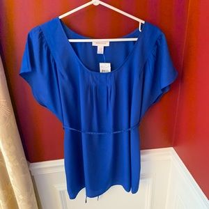 Motherhood Maternity Blouse Size Large Blue NWT